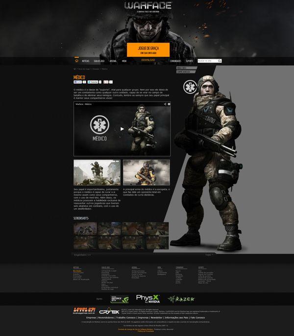 Website for Warface FPS Online by Osvald Vitali, via Behance