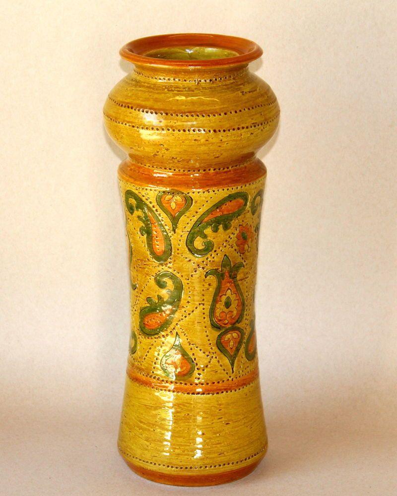 Vintage Large Bitossi Incised Italian Art Pottery Vase