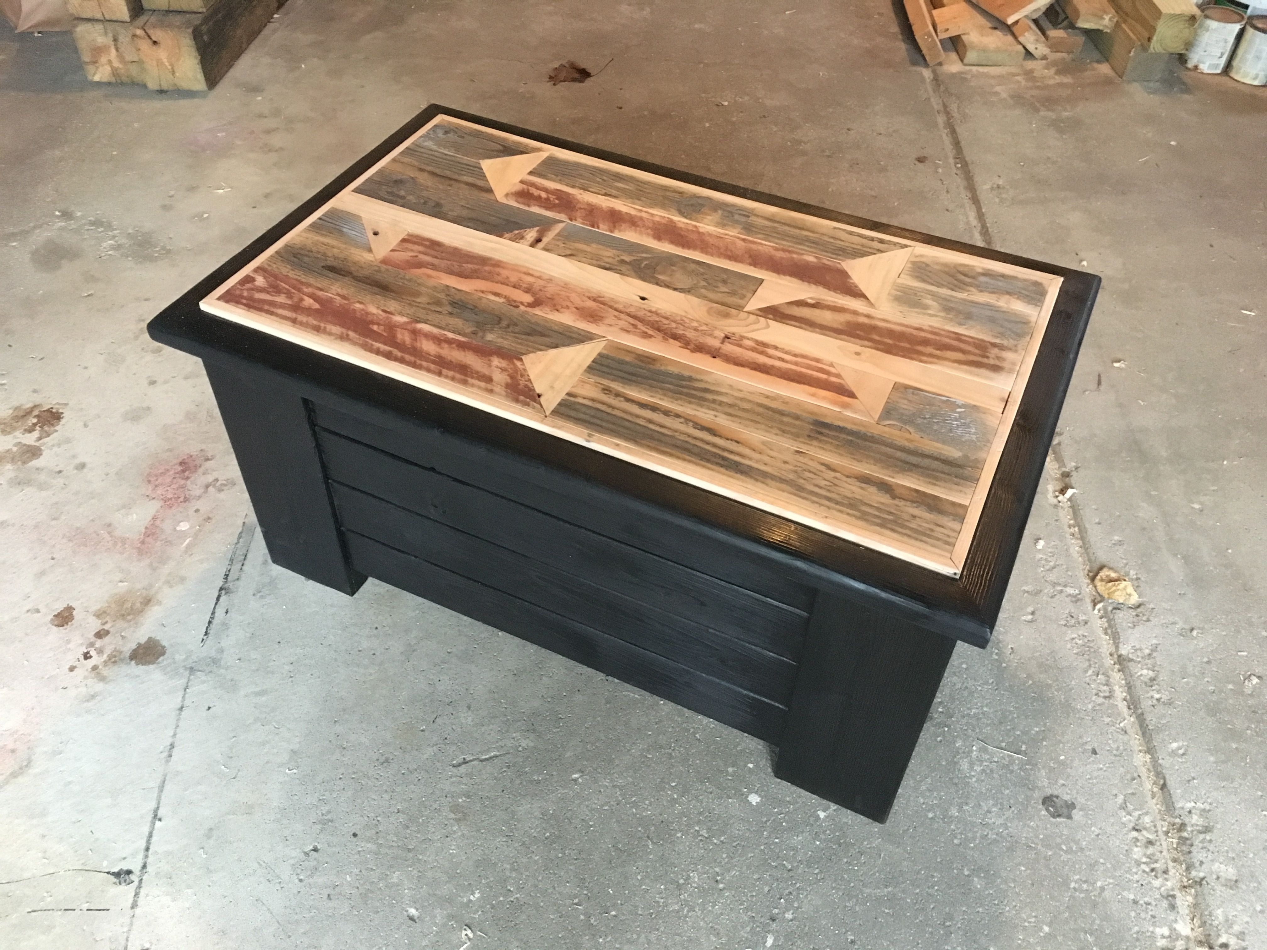 Recycled Pallet Wood On Top Chest Made Of Pine And Burned With Torch To Black Shou Sugi Ban Wood Pallets Recycled Pallet Wood