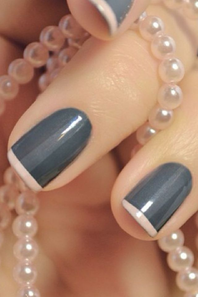 Gray With Light Pink French Tips Colorful Manicure Blue Colored