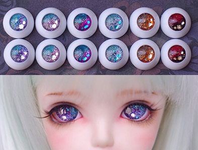 PF 1 Pair Of 18mm Brown And Yellow Without Pupil Eyes For BJD Doll Glasses Eye