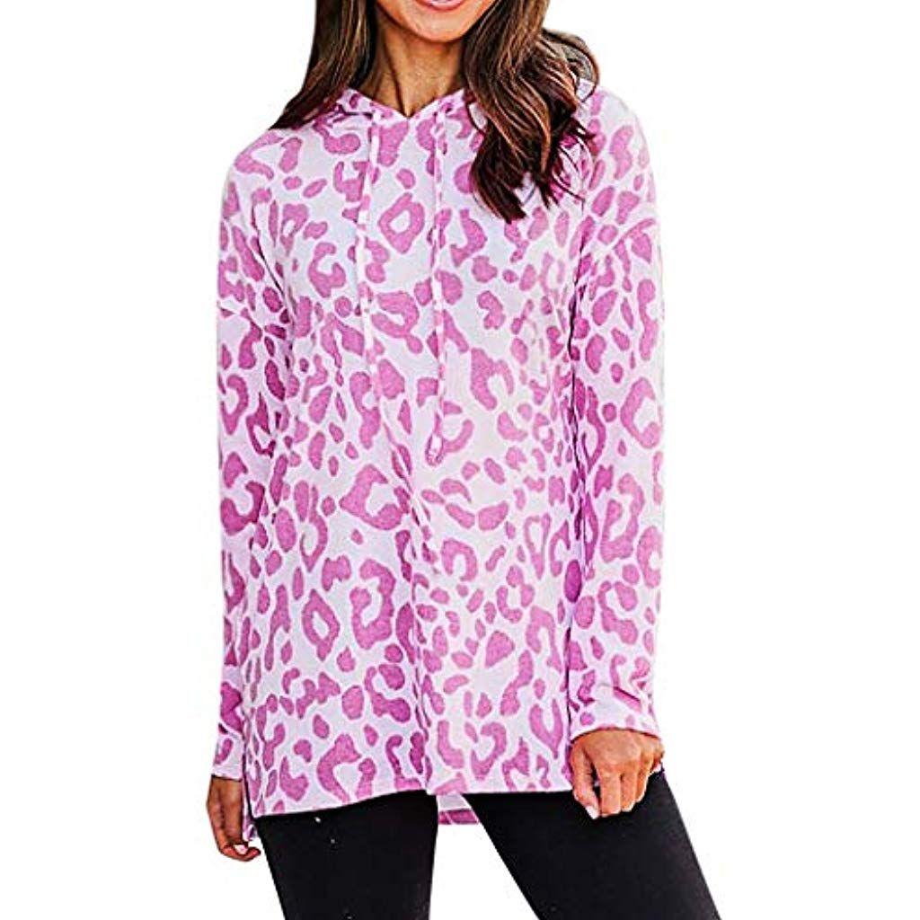 Houshelp Womens Leopard Hooded Sweater Pullover Long