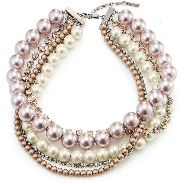 Marc Jacobs Multi Strand Choker (€249) ❤ liked on Polyvore featuring jewelry, necklaces, multicolored, multiple strand pearl necklace, pearl choker necklaces, white pearl choker necklace, pearl strand necklace and choker necklace