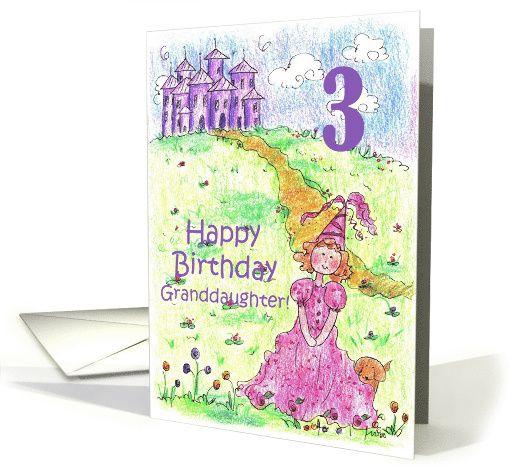 Happy 3rd Birthday Granddaughter Princess Castle Illustration Card
