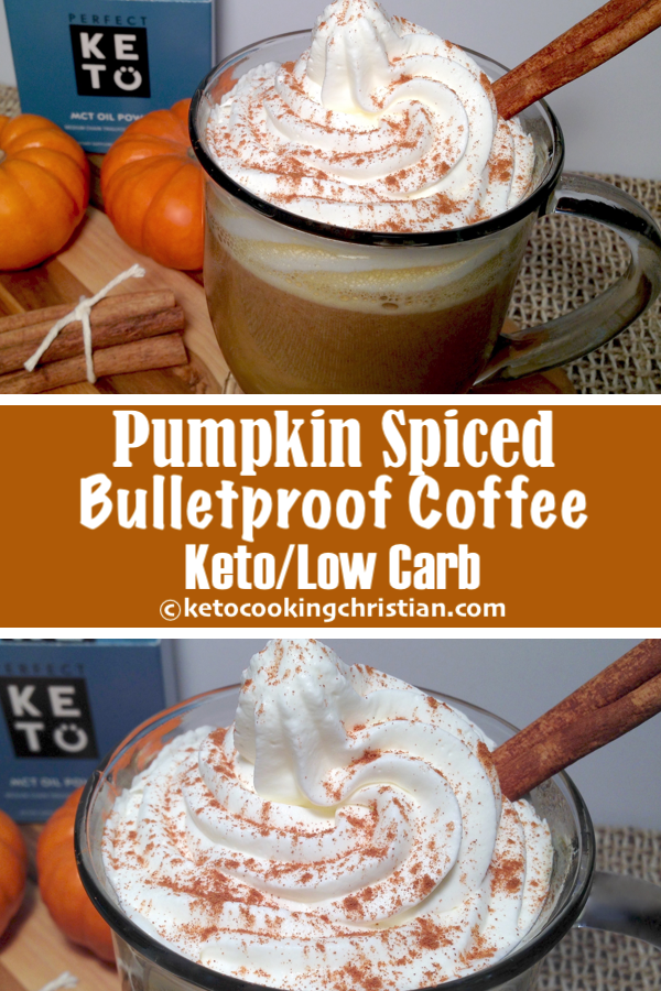 Pumpkin Spiced Bulletproof Coffee - Keto and Low Carb This pumpkin spiced bulletproof coffee will be a great addition to your morning! And if you like pumpkin and have never had a pumpkin latte, you are in for a real treat! #ketorecipes #keto #lowcarb #ketodiet #ketogenicdiet #lowcarbdiet #ketogenic #lowcarbhighfat #lowcarbrecipes #lchf #glutenfree #ketoweightloss #ketocookingchristian #pumpkinspiceketocoffee