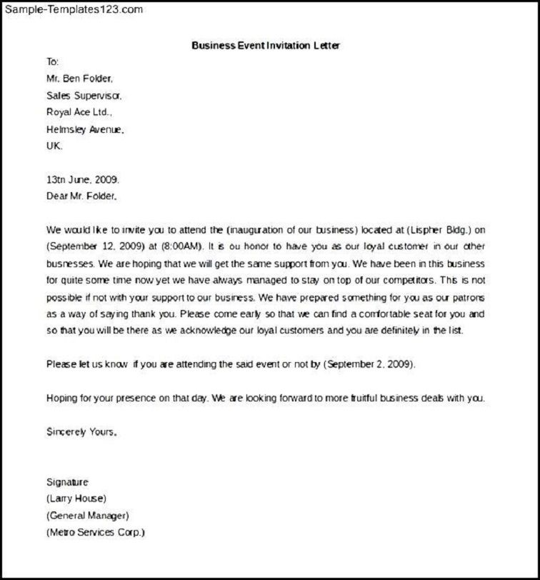 Business Party Invitation Letter Sample Business