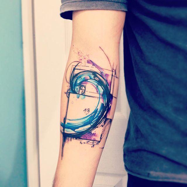 Watercolor Fibonacci Spiral Tattoo http://tattoo-designs.us/watercolor-fibonacci-spiral-tattoo/ #FibonacciSpiral, #Ink, #Tattoo, #Tattoos, #Watercolor
