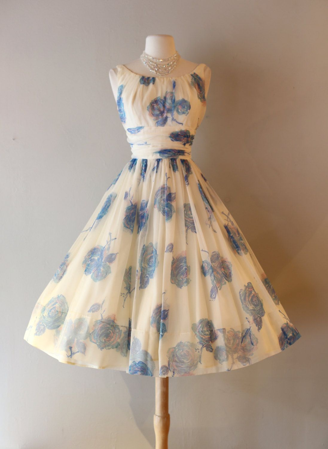 c3225e375b0b Vintage 1950s Rose Print Chiffon Party Dress ~ Vintage 50s Blue ...