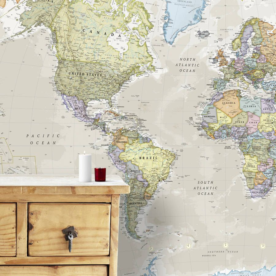 Giant Classic World Map Mural Wall maps Room and Walls