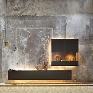 parete attrezzata per soggiorno moderna / in legno laccato ...