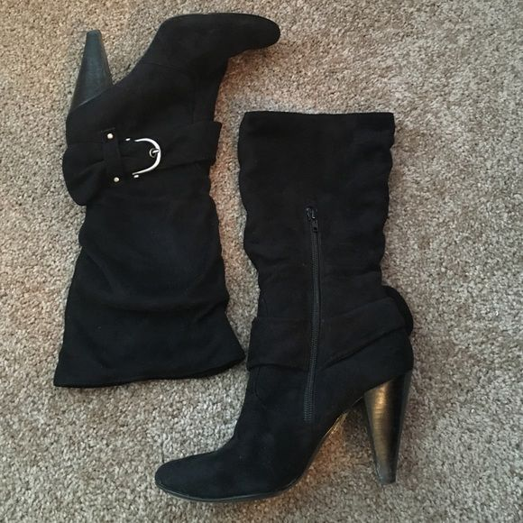 BAKERS Suede-like Mid-calf boots  BAKERS Suede-like Mid-calf boots  Bakers Shoes Heeled Boots