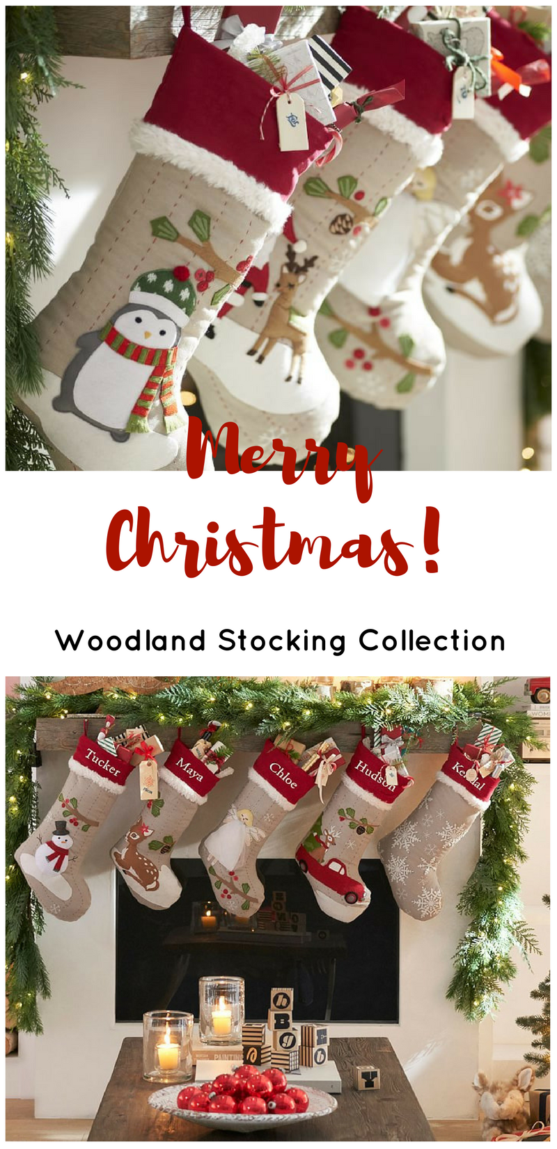 These Christmas stockings are so cute! Like the traditional look and ...