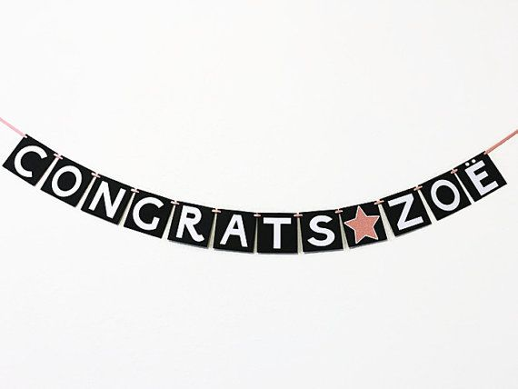 Personalized Congratulations Banner with Star. High School