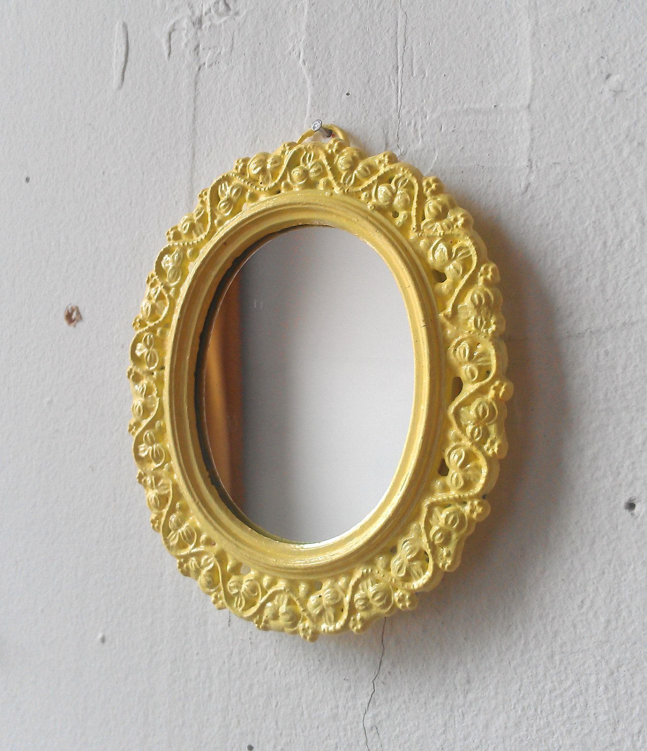 Miniature Wall Mirror in Vintage Butter Yellow Oval Frame | House ...