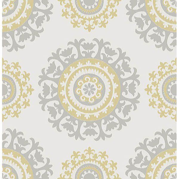 Grey And Yellow Suzani Peel And Stick Wallpaper Nuwallpaper Suzani Peel And Stick Wallpaper