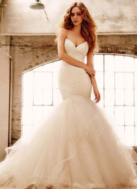 Hailey Paige Bianca Lace Mermaid Wedding Dress With Low Back Clic Pic 4