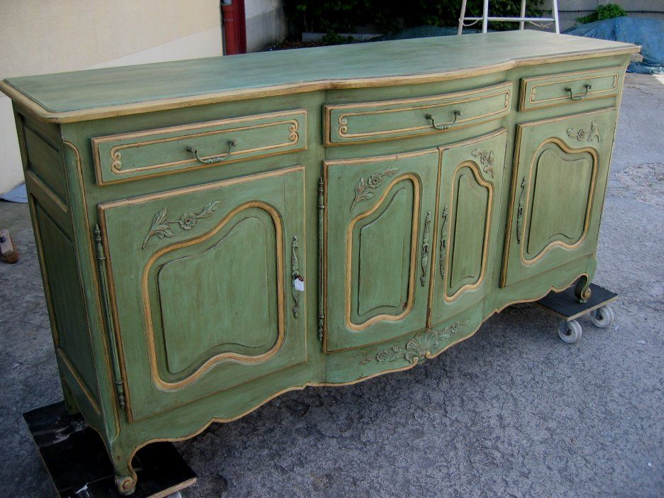 Painting Furniture Vintage Style   Shabby Chic  Fashionable Style with  Antique   Furniture Painting Decorative Vintage Style With Green Table. painted Buffets And Sideboards   Sideboards   Michael Penney Style