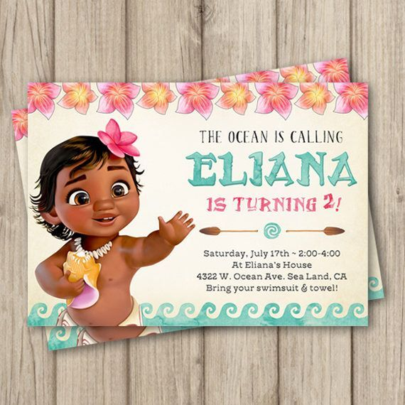 MOANA BIRTHDAY INVITATION Baby Moana Invitation Baby Moana - Birthday invitation for baby
