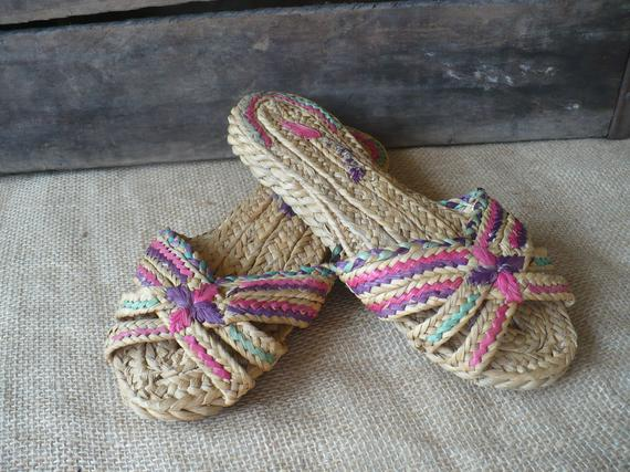 608cf61c799b0 Vintage Woven Grass Sandal, Small Open Toe Shoes, Girls Sandal in ...