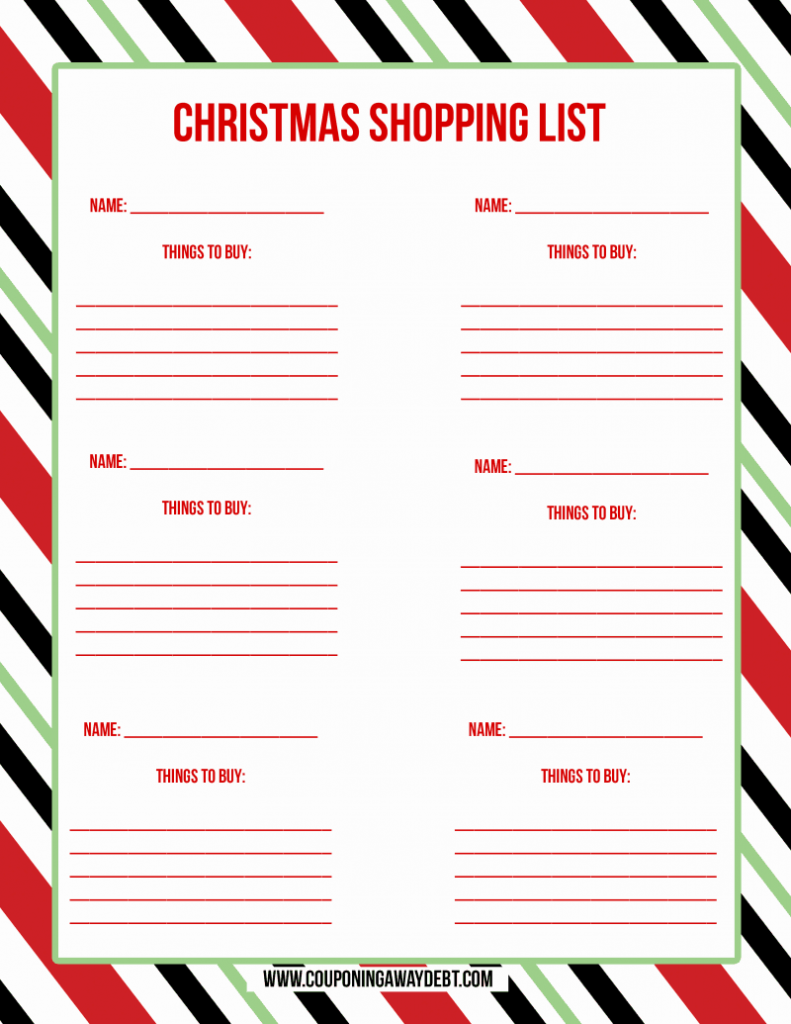 Printable Christmas Shopping List   Christmas Shopping List