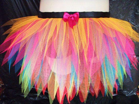 Adulto fluorescenti Neon Rainbow mezza Tutu trambusto