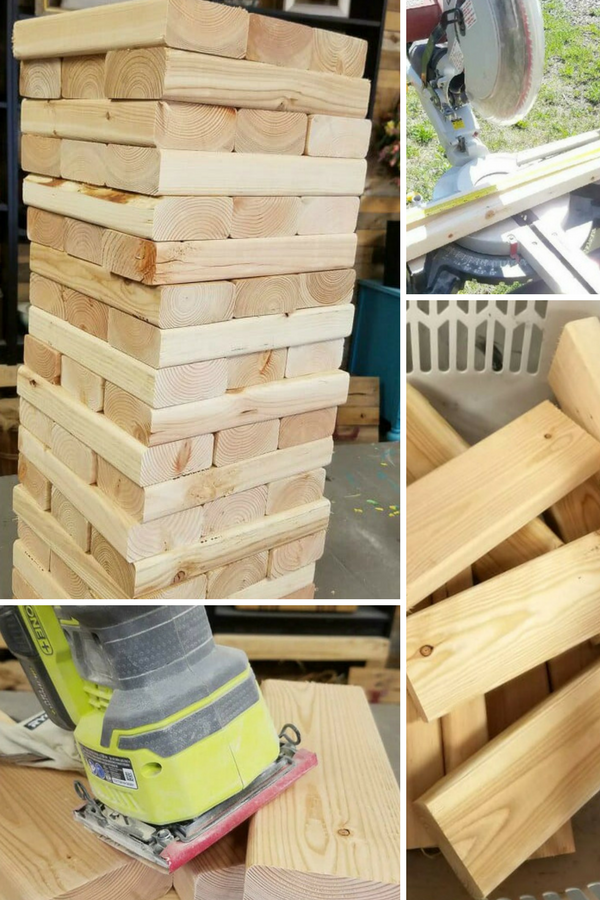 Lawn Jenga is the perfect backyard game.  It's easy, fun and all age levels can play.  Build your own giant Jenga game out of 2 x 4 boards with this step by step tutorial.  We have provided all of the tips and tricks to ensure your DIY success. via @divaofdiy