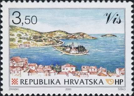 Stamp City View Of Vis With Peninsula Pirovo Croatia Croatian