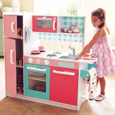 Pink Gourmet Kids Wooden Kitchen   Iu0027ll Be Putting This Together On  Christmas Eve For My Two Little Girls. I Canu0027t Wait To See The Look On  Their Faces Come ...