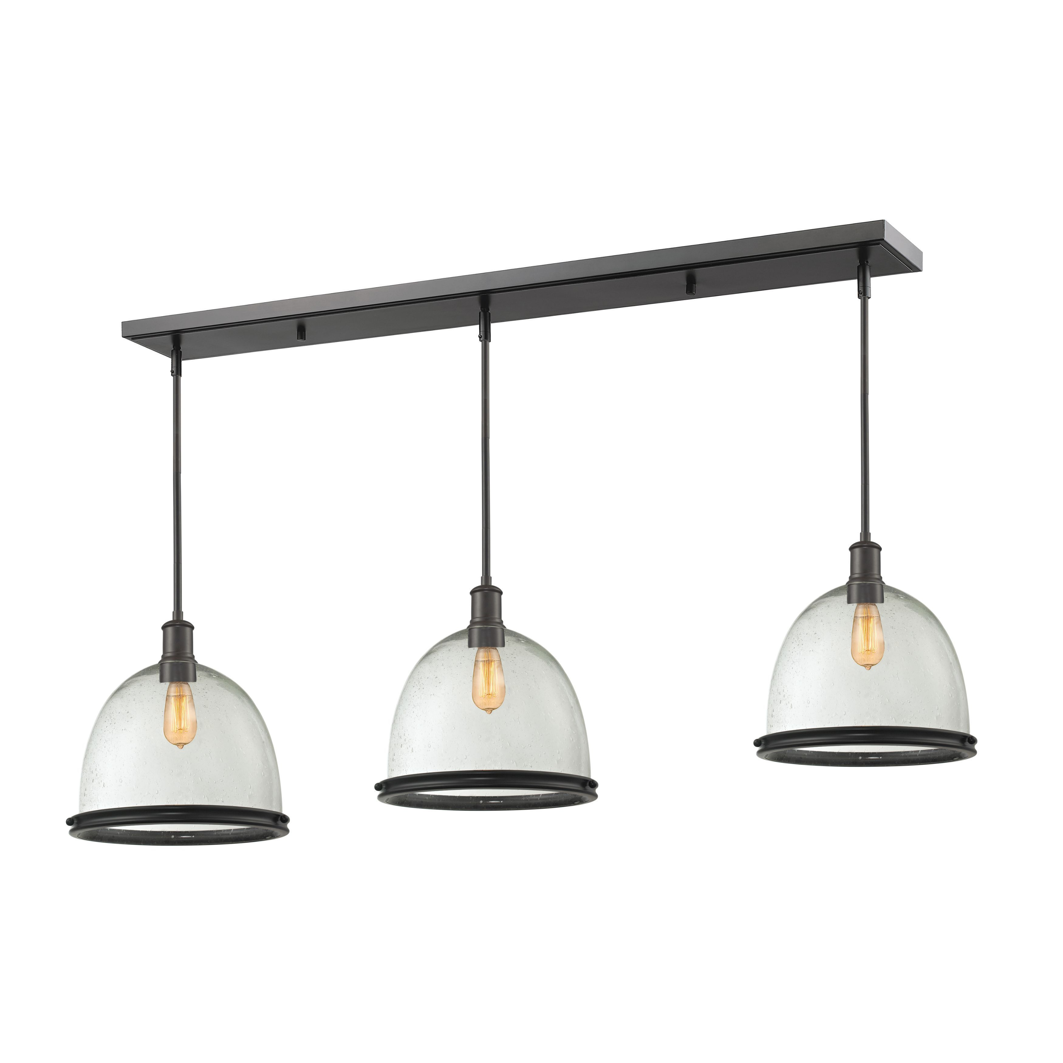 Z-Lite Bronze Finish with Clear Seedy Shade - Steel 3-light