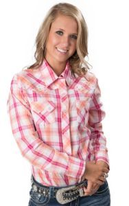 6362f4f72a976 Cumberland Outfitters® Women s Orange   Pink Plaid L S Western Shirt ...