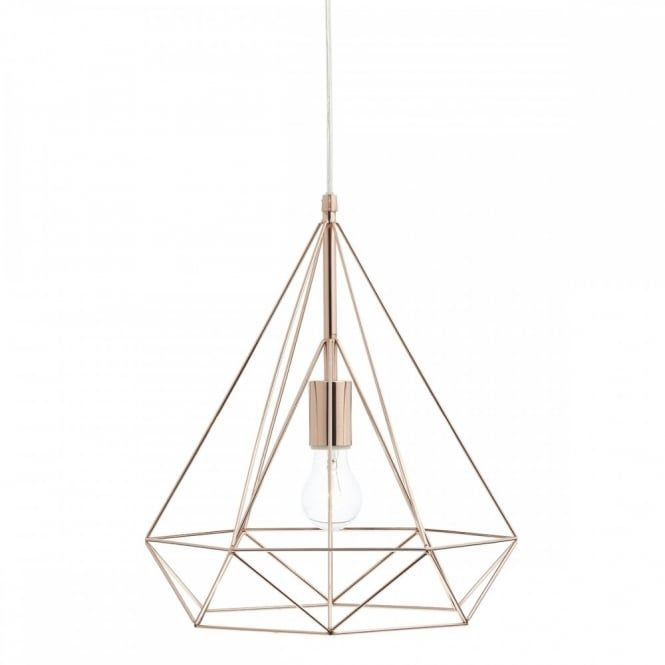 A contemporary design ceiling pendant in copper with triangular ...