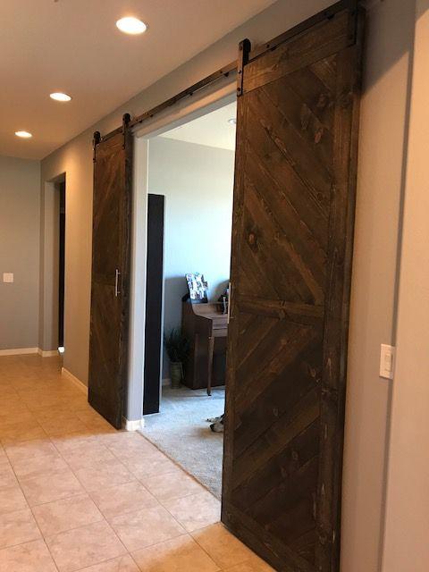 Custom made barn doors at Den Entrance in Foyer #WHstyle #DesignitPinitWinit & Custom made barn doors at Den Entrance in Foyer #WHstyle ...