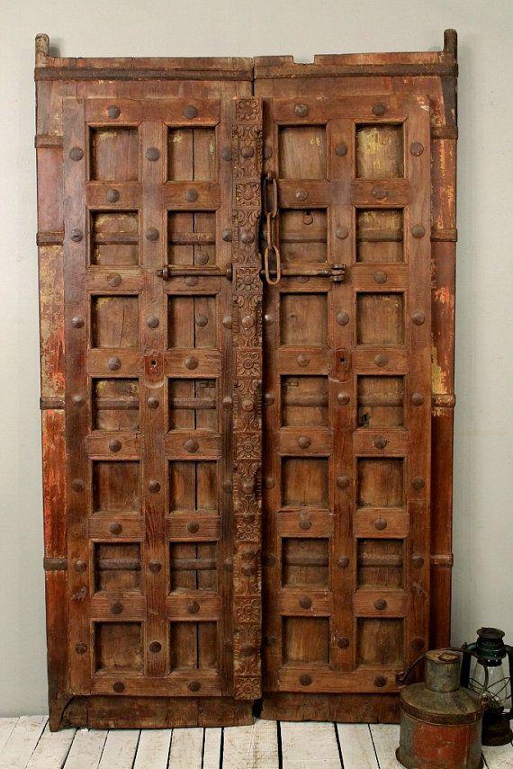 Original Antique Indian Hand Constructed Teak Wood Two Door Set With on