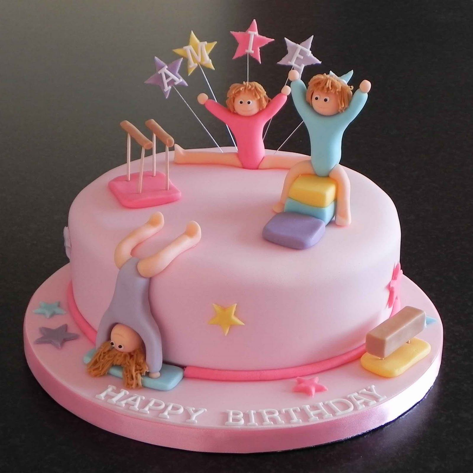 Stupendous Gymnastic Themed Birthday Cake Is It Not Adorable Gymnastics Personalised Birthday Cards Bromeletsinfo