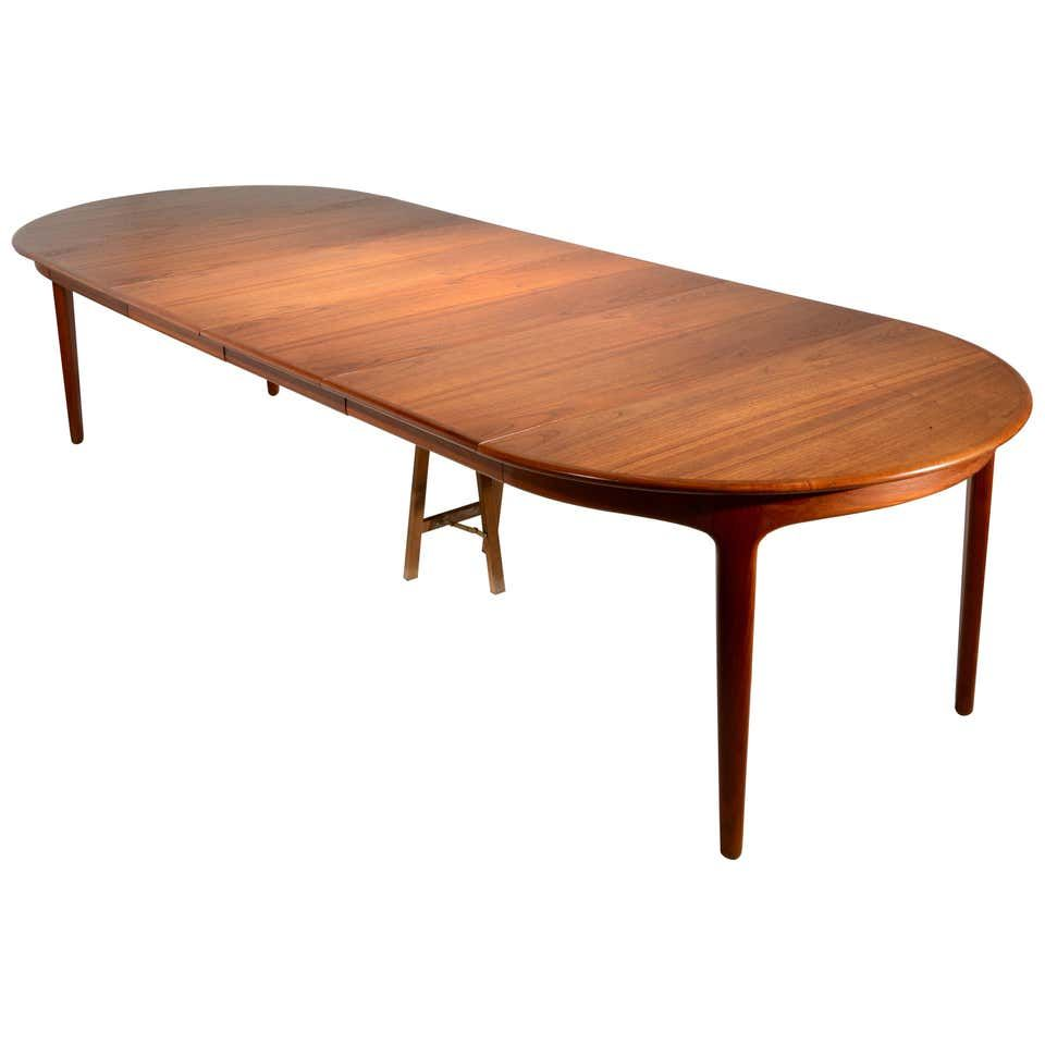 Extra Long Danish Teak Round Table With 4 Extensions By Henning Kjaernulf In 2020 Dining Table Teak Modern Dining Room Tables