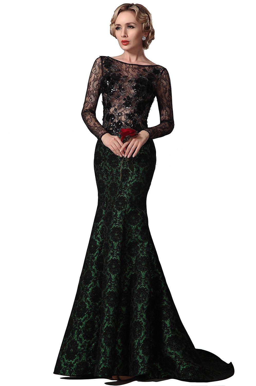 Sexy Lang Spitze Aermel Trumpet Abendkleid Ballkleid Formal Kleid Gr ...