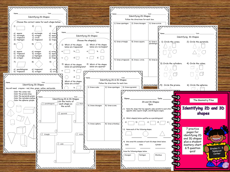 Printable Worksheets 2d & 3d shapes worksheets : Geometry - Identify 2D and 3D shapes worksheet and quiz packet ...