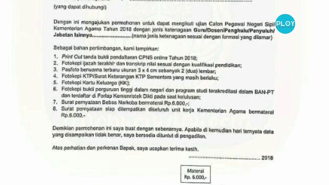 Contoh Surat Lamaran Cpns 2018 Doc Surat Guru Tanda