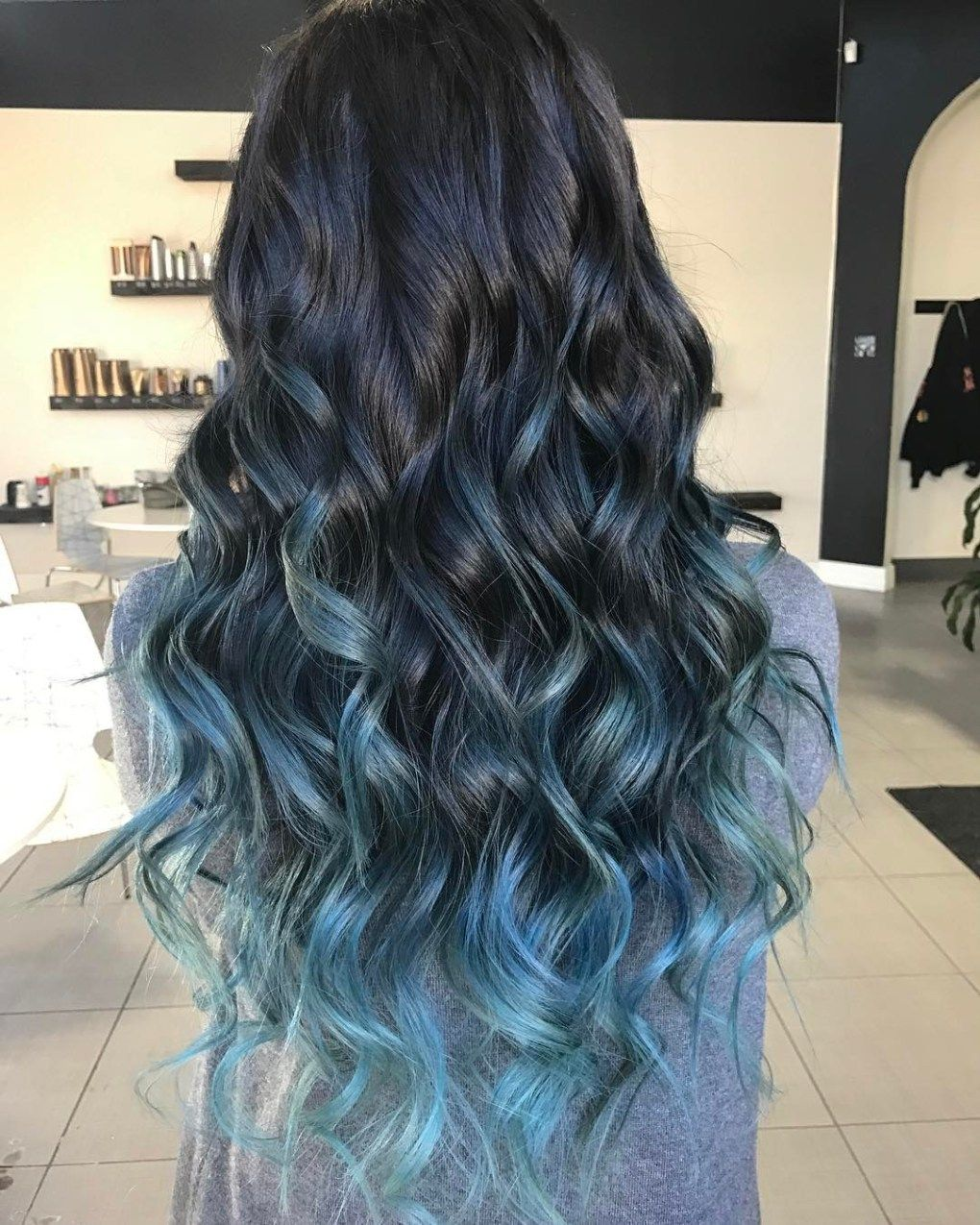 40 Fairy Like Blue Ombre Hairstyles Blue Hair Balayage Black Hair With Highlights Hair Color Blue