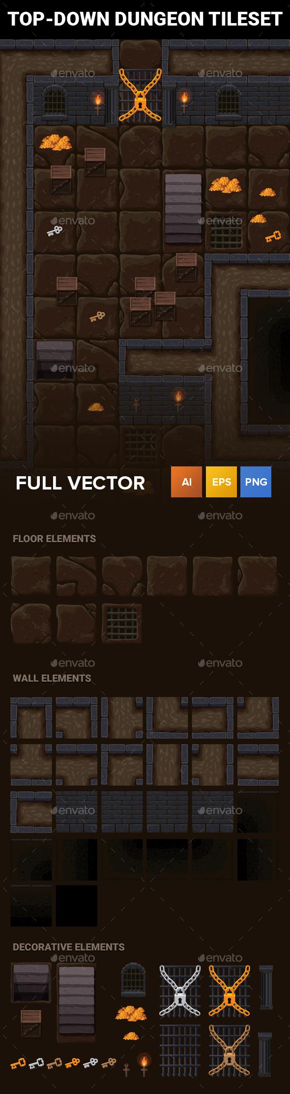 TopDown Dungeon RPG Tileset — Vector EPS grille 2d