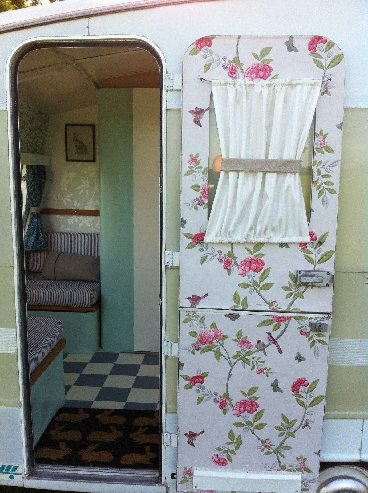 Retro camper curtains - Wall Paper On Camper Door