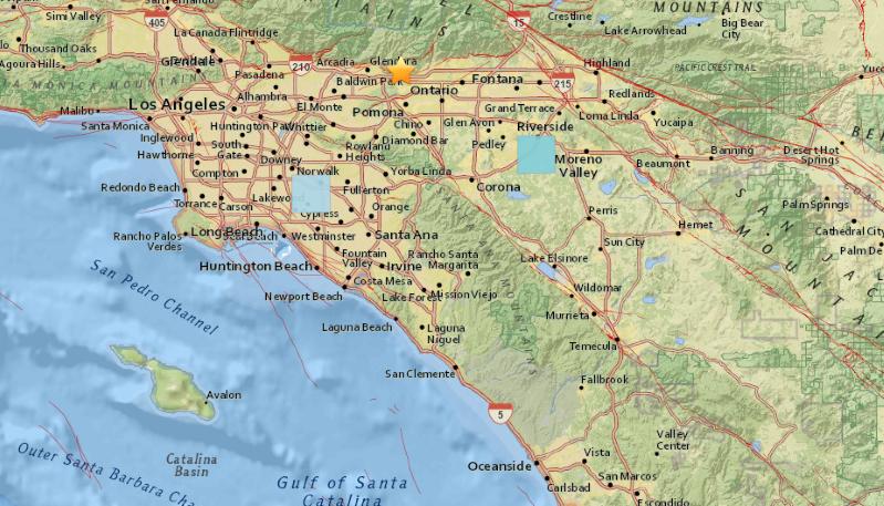 A Close Up Of A Map A Magnitude 4 4 Earthquake Occurred Near La