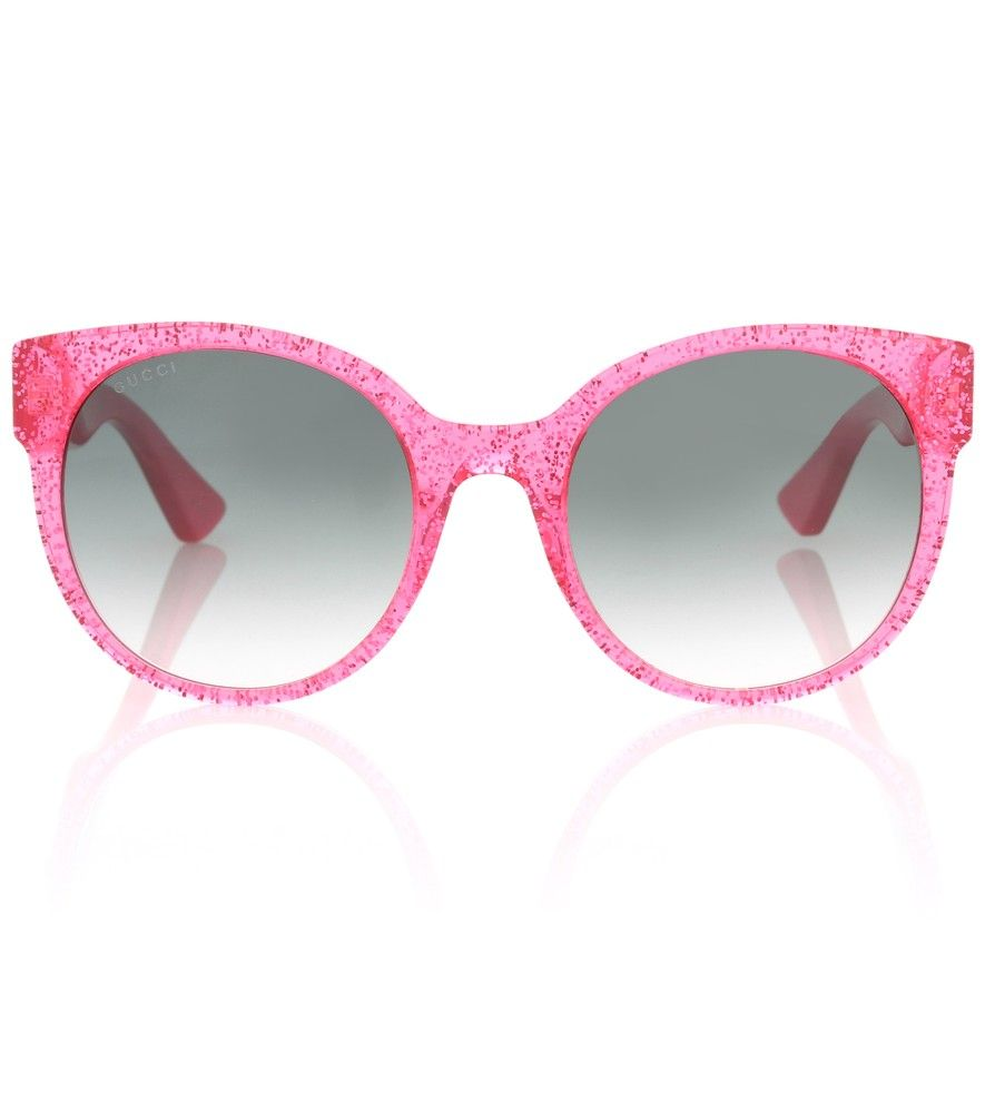 59cb168d91b Gucci - Round sunglasses - Lend your look a strikingly cool finish with  Gucci s sparkly pink sunglasses. Gradient lenses ensure your eyes are  protected from ...