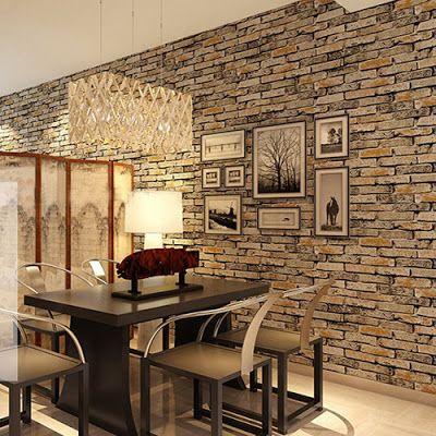 3d Effect Brick Stone Wallpaper For Interior Designs Ideias De Decoracao Papel De Parede Tijolo Cortinas Para Cozinha