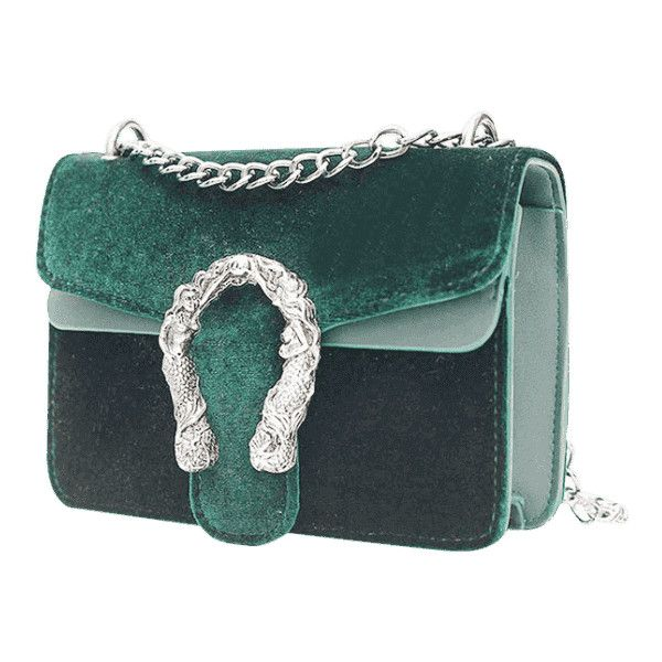 2ad7f0cf4d9 Metal Chain Crossbody Bag Green (€21) ❤ liked on Polyvore featuring bags