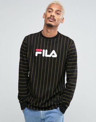 0ac2c8cbc5eb Fila Black Long Sleeve T-Shirt With Pin Stripe | SS18 BOYSWEAR ...