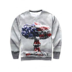 3D Mushroom Cloud Print Round Neck Long Sleeve Sweatshirt For Men