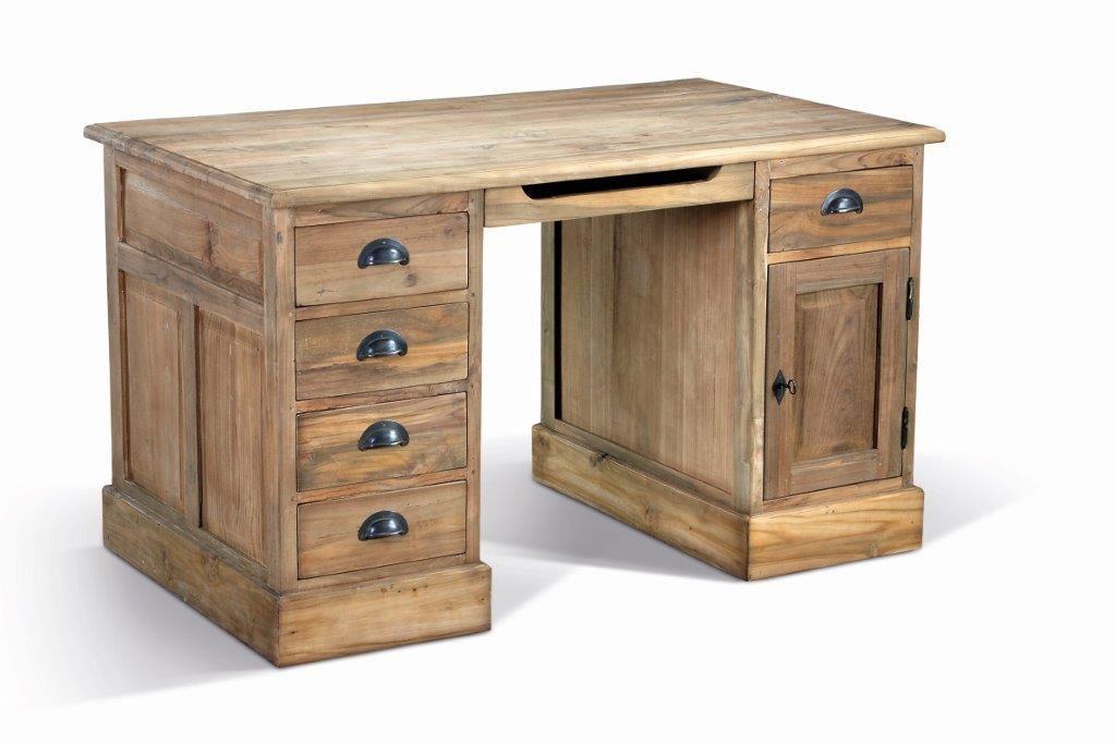 BmB Landmöbel Anteak, Modell Single, Schreibtisch, Teak Mit Stark  Gebürsteter Oberfläche Von Www