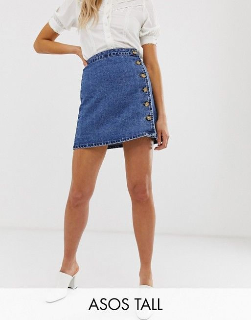 DESIGN Tall denim wrap skirt with side buttons in blue