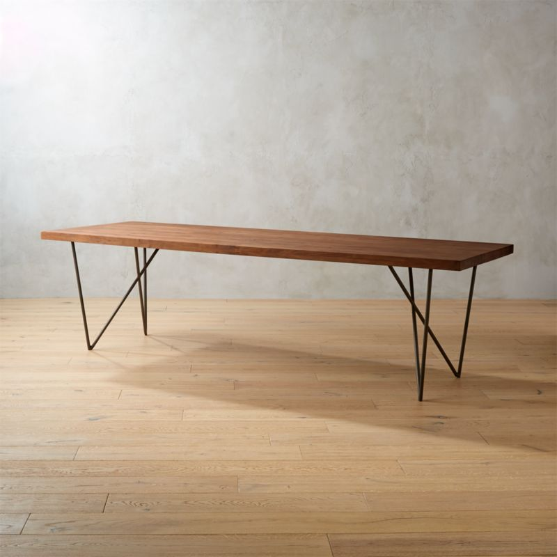 Modern Dining Table With Reclaimed Wood Top And Square Steel Base